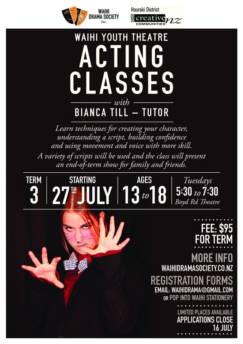 Waihi Youth Theatre Acting classes - Bianca Till